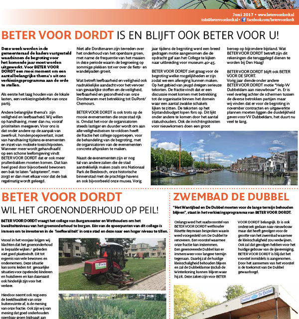 Nieuwsbrief: Beter Voor Dordt juni 2017